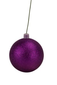 WL-ORN-BLKG-70-PU-W - 70mm Glitter Purple ball ornament with wire