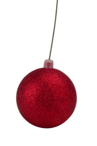 WL-ORN-BLKG-80-RE-W - 80mm Glitter Red ball ornament with wire