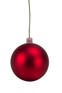 WL-ORN-BLKM-100-RE-UV - 100mm Matte red ball ornament with wire and UV Coating