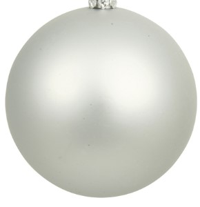 WL-ORN-BLKM-250-SLV-UV - 250MM Matte Silver ball ornament with wire and UV Coating