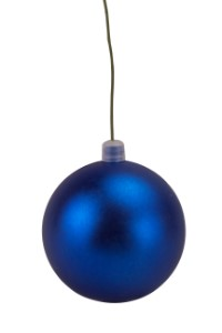 WL-ORN-BLKM-60-BL-UV - 60mm Matte blue ball ornament with wire  and UV Coating