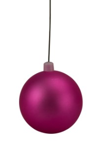 70mm Matte Pink Ball Ornament with Wire, UV Coated