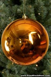 WL-ORN-BLKS-100-CO-UV - 100mm Shiny Copper ball ornament with wire  and UV Coating