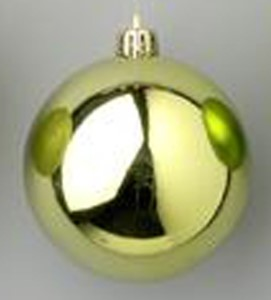 WL-ORN-BLKS-100-SG-W - 100mm Shiny sage green ball ornament with wire