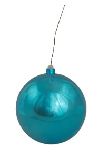 120mm Shiny Aqua Ball Ornament with Wire and UV Coating