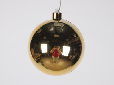 120mm Shiny Gold ball ornament with wire and UV coated