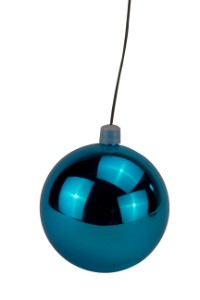 WL-ORN-BLKS-60-AQ-UV - 60mm Shiny Aqua ball ornament with wire and UV Coating