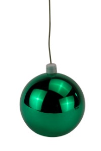 WL-ORN-BLKS-70-GR-UV - 70mm Shiny green ball ornament with wire and UV Coating