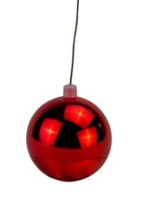 WL-ORN-BLKS-70-RE-UV - 70mm Shiny red ball ornament with wire  and UV Coating
