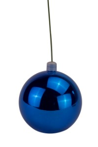 WL-ORN-BLKS-80-BL-UV - 80mm Shiny blue ball ornament with wire  and UV Coating