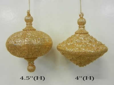 2pk Gold Oval Ornament