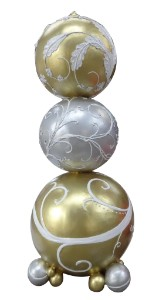 WL-POLYORN-06-GWS - 6' Stacked Ornaments Gold White and Silver