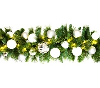 9' Blended Pine Garland Decorated with The Iceland Ornament Collection