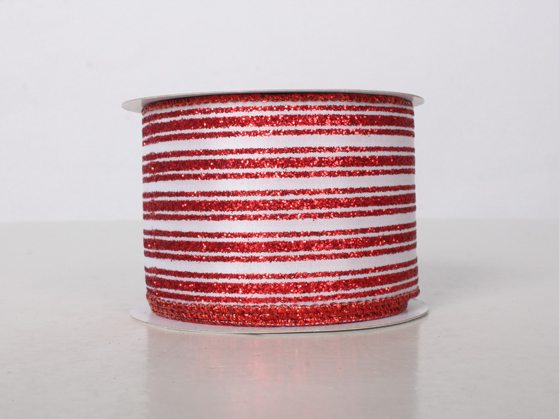 2.5' WIDE 10 YARDS RED & WHITE RIBBON