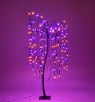 4' Purple and Orange LED Halloween Willow Tree