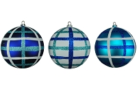 100MM 3 PACK TEAL,BLUE & WHITE BALL ORNAMENTS