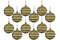 80MM STRIPE WAVES GOLD & WHITE BALL ORNAMENT
