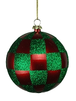 80MM RED & GREEN CHECKER BALL ORNAMENT
