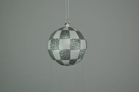 4 Pack 80mm White & Silver Checker Ball Ornaments