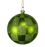 80MM LIME GREEN & SAGE GREEN CHECKER BALL ORNAMENT