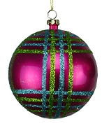 80MM FUCHSIA, TEAL AND LIME GREEN BALL ORNAMENT