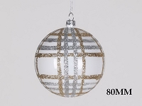 80MM  WHITE CHAMPAGNE & SILVER STRIPE BALL ORNAMENT