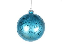 120mm Aqua Ornament Ball with Aqua Glitter Design