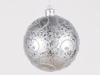 200mm Silver Ball Ornament with Silver Glitter Design