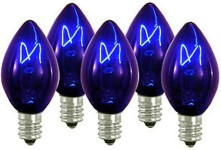 C7 Incandescent Transparent Blue Dimmable Bulbs E12 Base