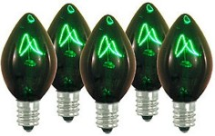 C7 Twinkle Green Light Bulbs