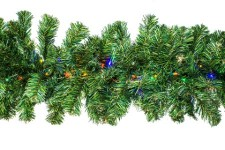 9' Pine Garland Pre-Lit with LED Multi Colored LED Lights