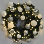 4' Blended Pine Wreath Decorated with The Iceland Ornament Collection Pre-Lit Warm White LEDS