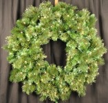 4' Blended Pine Wreath Pre-Lit with Warm White LEDS