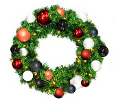 2' Pre-Lit Warm White LED Sequoia Wreath Decorated with the Modern Ornament Collection
