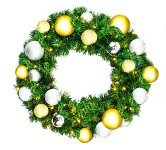 4' Sequoia Wreath Pre-Lit with Warm White LEDs Decorated with The Treasure Ornament Collection