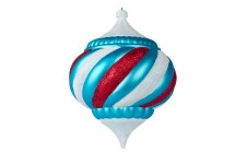100mm Onion Ornament Arctic Collection Aqua and White