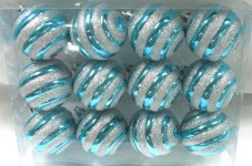 Aqua Ball Ornament with Silver Glitter Line Design 12pk