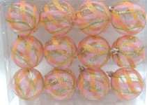 Clear Ball Ornament with Mardi Gras swirl Design 12pk
