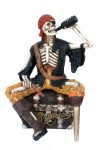 4.5' Skeleton Pirate Sitting on Chest