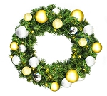 4' Blended Pine Wreath Decorated with The Treasure Ornament Collection Pre-Lit Warm White LEDS
