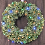 3' Pre-Lit Battery Operated Multi-Color LED Sequoia Wreath