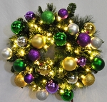 4' Pre-Lit Warm White LED Sequoia Wreath Decorated with the Mardi Gras Ornament Collection