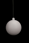 200mm Matte White Ball Ornament with Wire, UV Coated