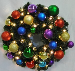 3' Sequoia Wreath Decorated with The Royal Ornament Collection Pre-Lit Warm White LEDS