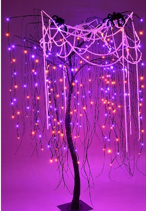 7' Purple and Orange LED Halloween Willow Tree