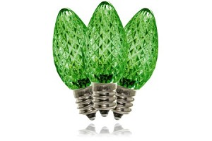 C7 Dimmable Faceted Green LED Retrofit Lamp with 5 Internal LEDs and an E12 Base