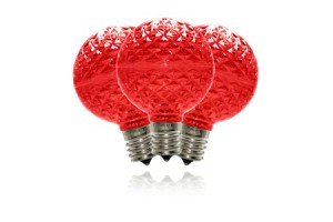 G50 Non-dimmable Red Commercial Retrofit bulb with an E17 base and 5 Internal LED Chip
