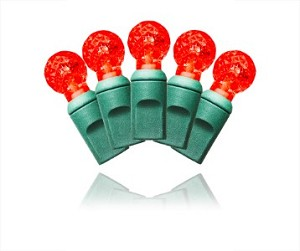 35 Count Standard Grade Faceted G12 Red LED Light Set with in-line rectifer 4' Spacing on Green Wire