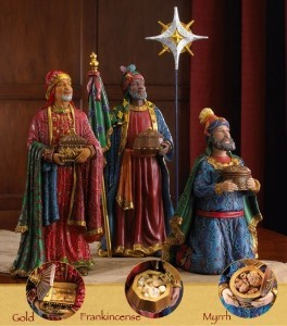 "14"" Three Kings Real Life Nativity 4 Piece Set"