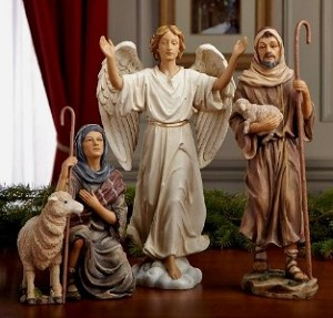 "14"" Three Kings Shepherds and Angel Real Life Nativity 4 Piece Set"